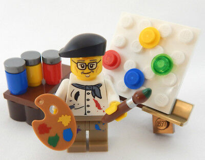 NEW LEGO FEMALE ARTIST w// EASEL PALETTE /& PAINT LOT brush minifig painter figure