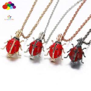 New-Aroma-Diffuser-ladybug-Necklace-Lockets-Perfume-Essential-Oil-Aromatherapy