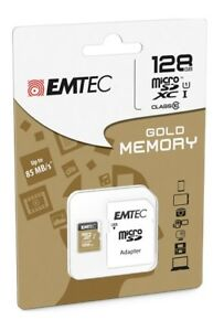 carte memoire micro sd sdxc emtec elite gold 128 go gb class 10 uhs i 85 mb s ebay. Black Bedroom Furniture Sets. Home Design Ideas
