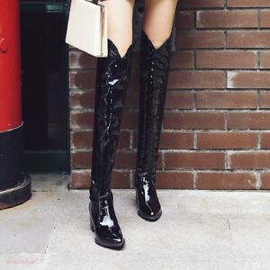 69e330be864 Details about Women Riding Low Heel Cowboy Snakeskin Knee High Boots Pull  On Shoes Leather New