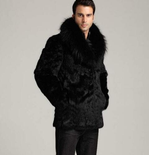 Fashion Outwear Mens Lapel Long Jacket Warm Fur Collar Black Coats Thick Sz