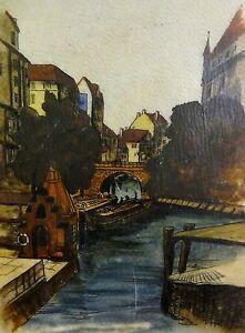 Alfred-Donner-Aquarell-Zeichnung-1936-37-LEDER-HAMBURG-DIE-ELLERNTORSBRUCKE