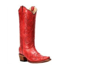 Circle-G-By-Corral-Women-039-s-Embroidered-Cowboy-Western-Boots-Red-Leather-L5129