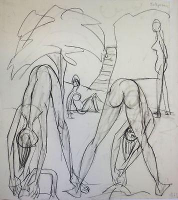 """1901-1984 Precise Franziskus Dellgruen Zeichnung Auf Papier! """"gymnastik Im Freien"""""""