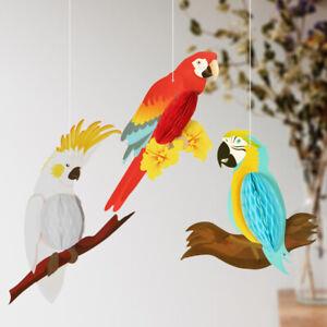 3pcs-Hanging-Honeycomb-Parrots-Decor-Hawaiian-Beach-Summer-Tropical-Party-Decor