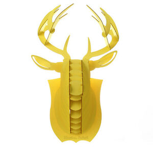 decoration murale kit trophee de chasse puzzle 3d carton tete cerf large jaune ebay. Black Bedroom Furniture Sets. Home Design Ideas