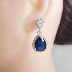 Elegant Bride Dual Leaves Teardrop Wedding Dangle Earrings Austrian Crystal