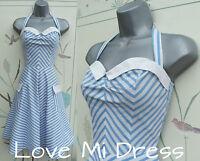 50's Style Pin-Up Swing Jive Stripe Dress Sz 10 EU38 Halterneck