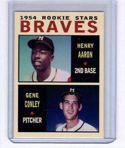 Hank-Aaron-amp-Gene-Conley-039-54-Milwaukee-Braves-rookie-stars-Pastime-series-8