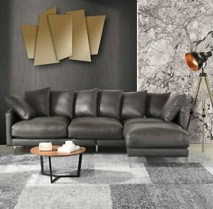 Super Details About Modern Home Leather Match Upholstery Sectional Sofa Chaise Ottoman Couch Grey Alphanode Cool Chair Designs And Ideas Alphanodeonline
