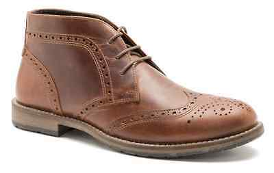 Mens Red Tape Henbury Tan Leather Biker Brogue Lace Up Ankle Boots Size UK 7 -11
