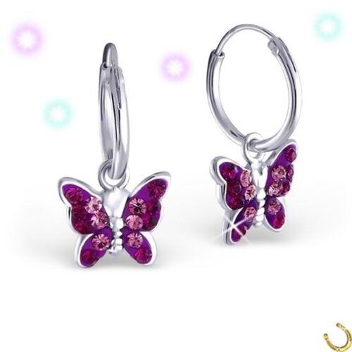Amethyst Kristall Schmetterling 12mm Creolen 925er Silber Mädchen Ohrhänger 9x11