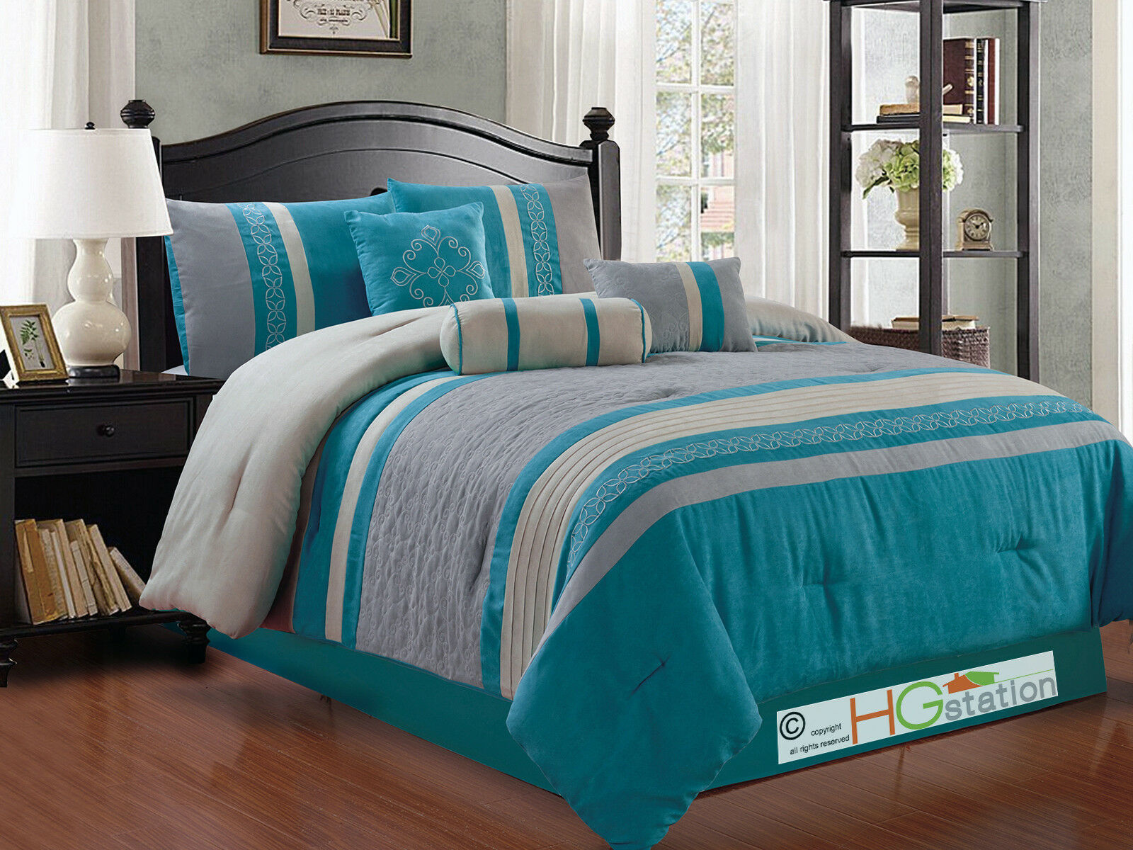 11-Pc Quilted Damask Medallion Faux Suede Comforter Curtain Set blu grigio King