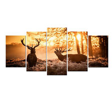 Framed Canvas Print Painting Photo Home Dec Wall Art Poster Deer Animals Picture