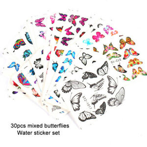 50 Sheets Decals Lot Stickers Transfer Nail Art Designs Butterfly Mixed DIY