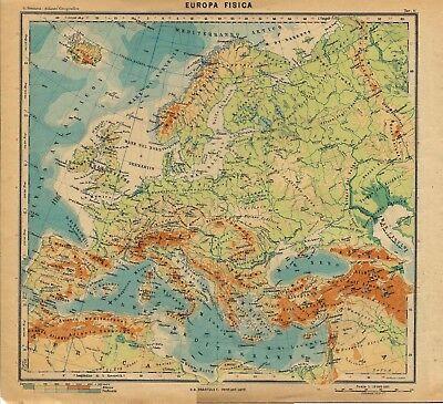 Cartina Fisica Belgio.Carta Geografica Antica Europa Fisica Paravia 1941 Old Antique Map Ebay