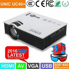 Original UNIC UC40+ MiniHD/3D LED Projector 800LM VGA Home Cinema Theater