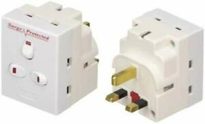 Benross 45610 3 Way Switched Surge Protected Wall Adaptateur Socket Surge Plug UK
