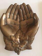 Vintage Queen Victoria Solid Metal Bronze Open Hands Dish Jewelry Trinket Tray