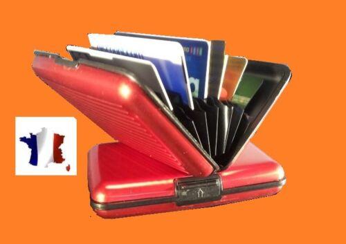 cartes bancaires ASTUCIEUX BOITIER-ETUI-PORTE CARTE ROUGE EN ALUMINIUM