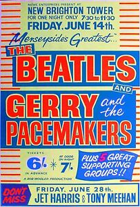 Music-Poster-Reprint-The-Beatles-Gerry-amp-The-Pacemakers-New-Brighton-Tower-1963
