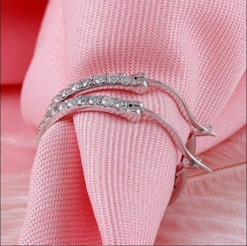 Details about  /Solid 14K White Gold Finish 1.00Ct Round Cut VVS1 Diamond Huggie Hoop Earrings