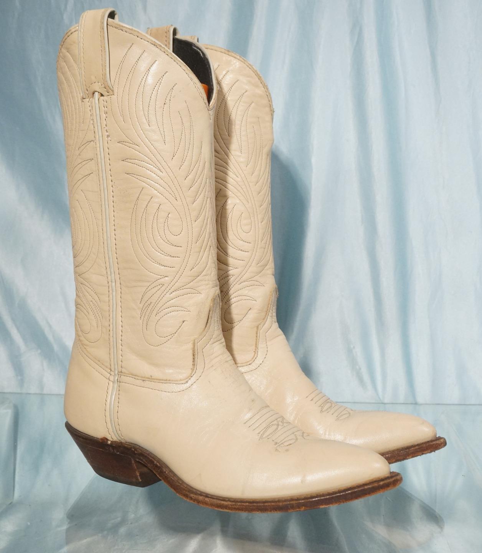 Atractivo Code West Marfil Cuero Western Cowboy Cowgirl Bota EE. UU. hizo Talla 5.5M