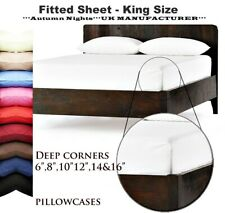 Extra Deep 20CM Fitted Sheet Single Double King Size Bed Sheets For Mattress