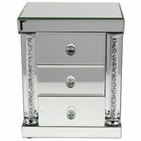 Mirrored 3 Drawer Jewellery Box With Glass Handles