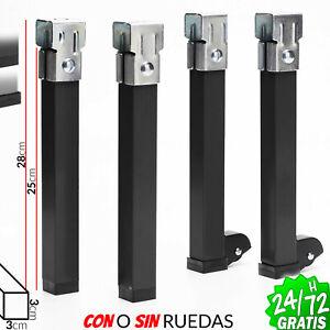 Juego-de-4-patas-agarre-250mm-x-30x30-mm-Ruedas-para-Somier-en-Camas-pata-acero