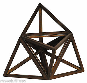 Authentic Models AR037 Elevated Tetrahedron 3D Geometric Ether Wooden Model