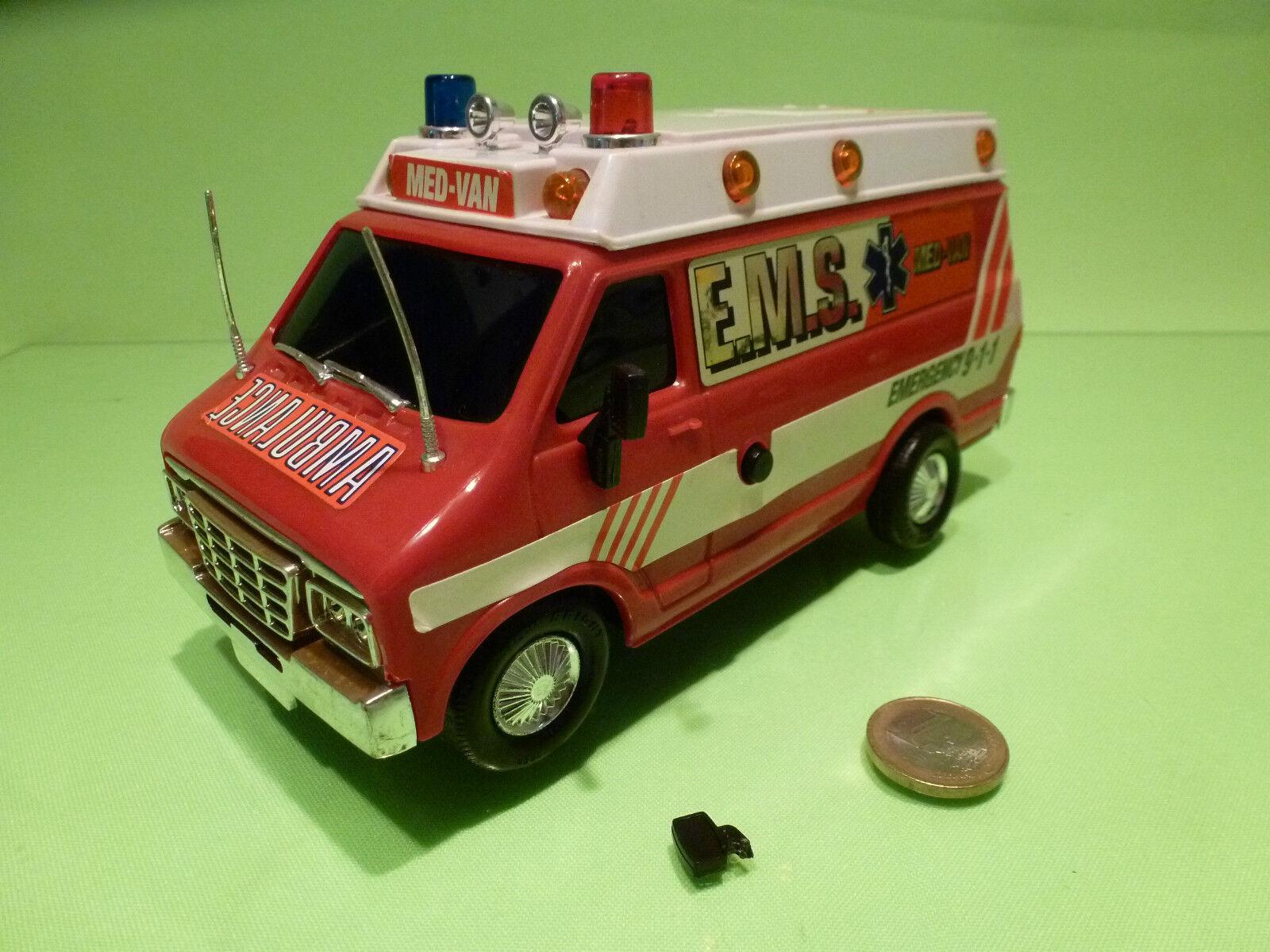 PLASTIC AMERICAN MED VAN AMBULANCE -  EMERGENCY 911 - rojo - GOOD - BATTERY