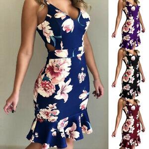 Sommer-Frauen-V-Ausschnitt-Armellos-Strandkleid-Blumenmuster-Rueschen-Sundress-Cocktail-Kleid