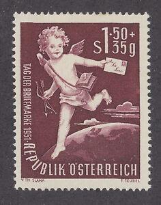 Austria-Sc-B278-MLH-1951-1-50s-35gr-Stamp-Day-complete-set-Cupid