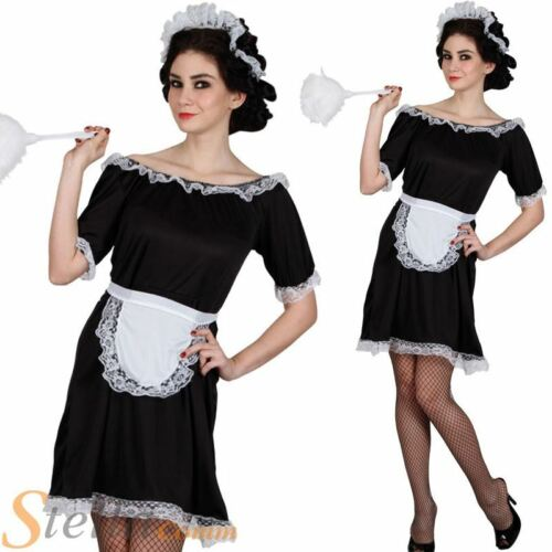 Ladies Classic French Maid Costume House Cleaner Outfit Fancy Dress Outfit