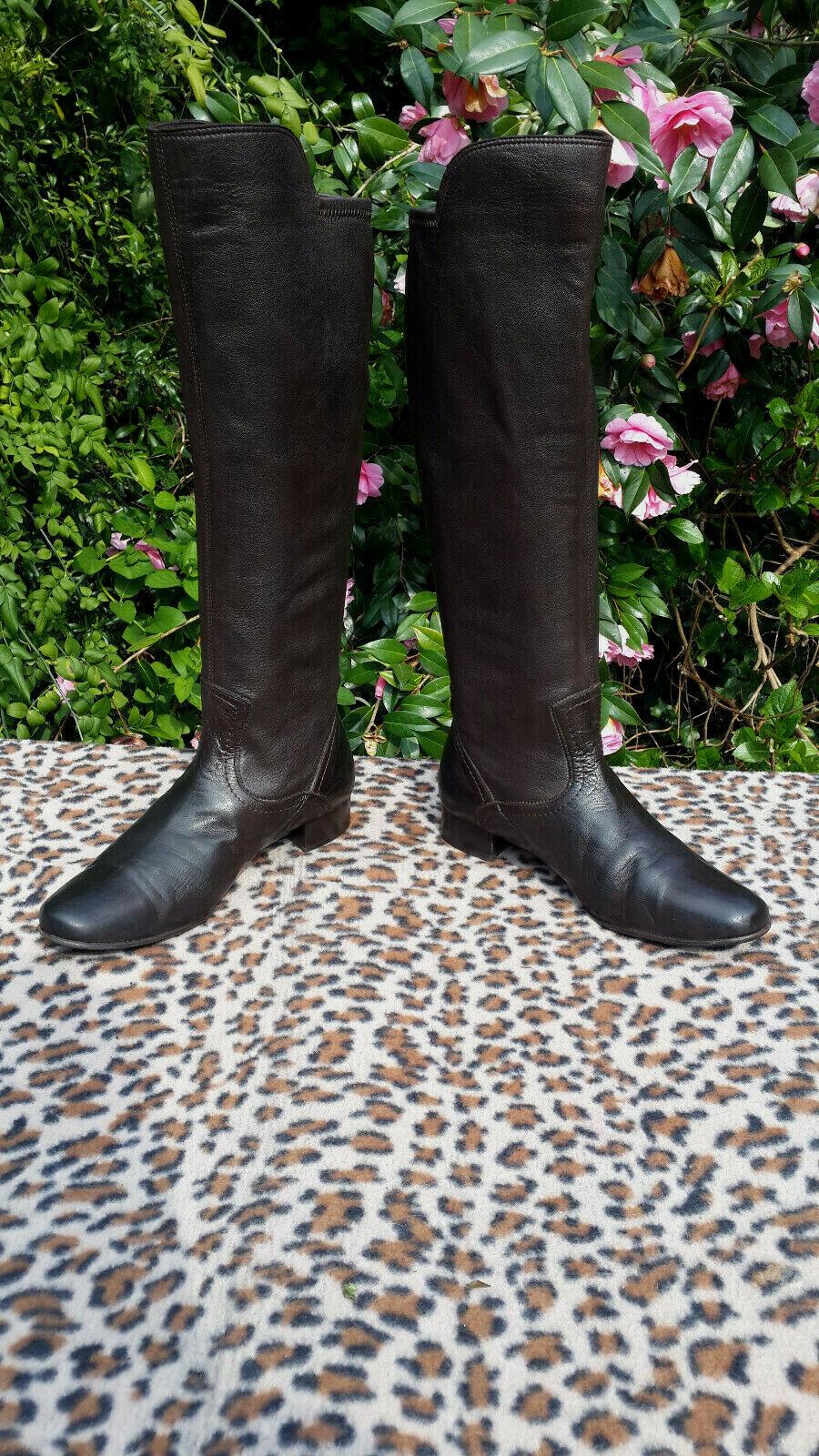 Maretto de cuero marrón y botas de estiramiento Hecho en Italia