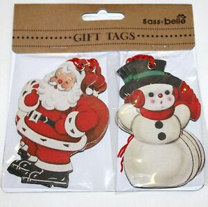 10-Vintage-Retro-Christmas-Santa-And-Snowman-Message-Luggage-Label-Gift-Tags