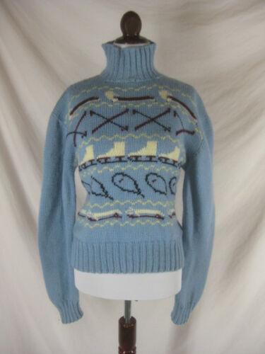 Vtg 40s 50s Blue Womens Vintage Novelty Sledding S