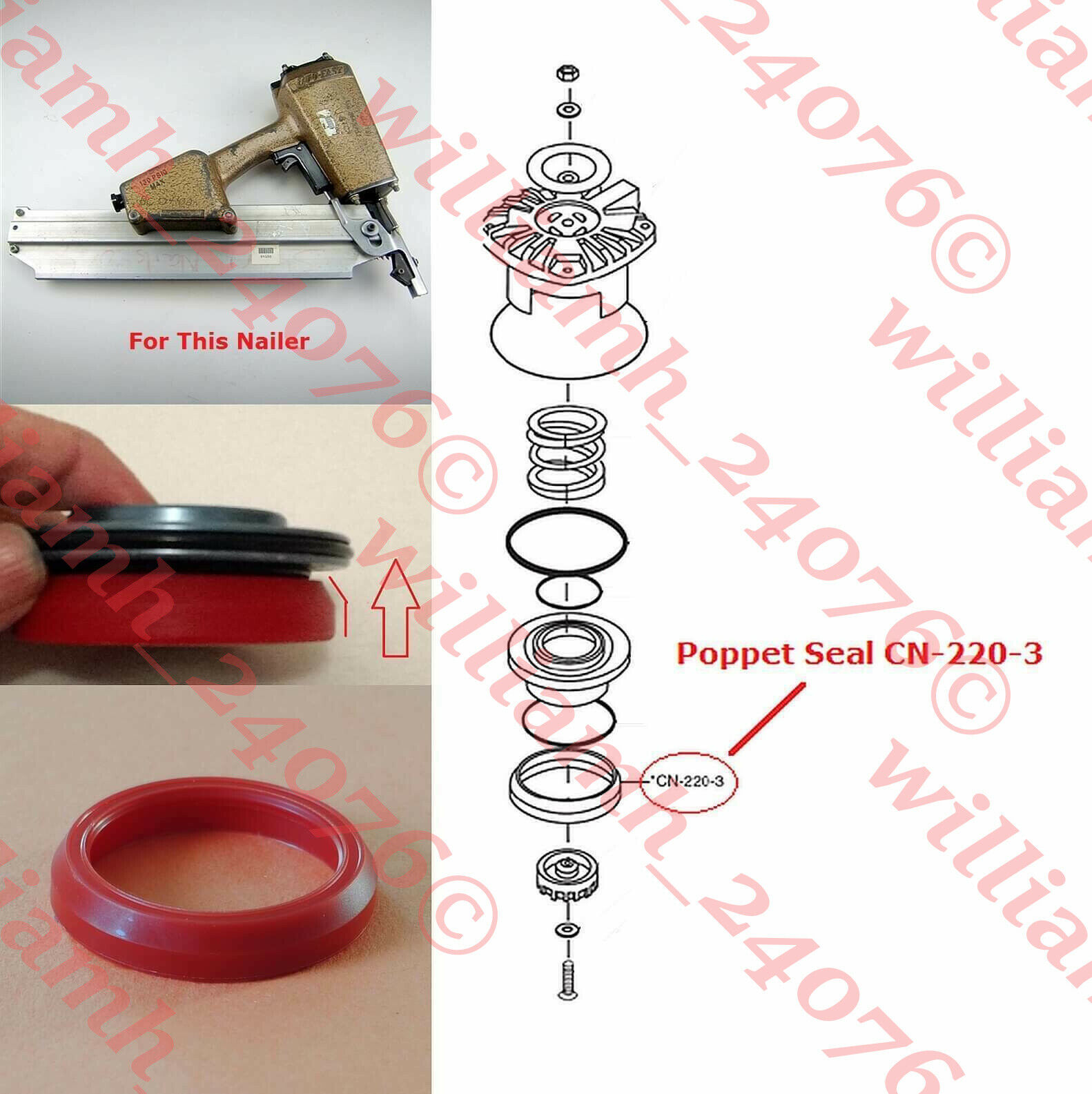 CN-220-3 williamh_24076 Duo-Fast Part CN-220-3 Poppet Seal  for CN-350 CN325