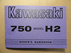 1973-Kawasaki-750-H2A-Rider-039-s-Handbook-Owner-039-s-Manual-H2-A-Riders-Owners-Shop