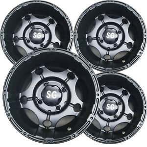 Vision 112 Assault 12x8 4x4-10mm Gunmetal//Machined Wheel Rim 12 Inch