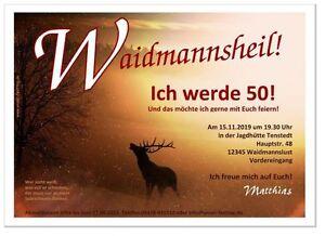 Einladungskarten Geburtstag Jäger Waidmann Hirsch Spruch 40 50 60