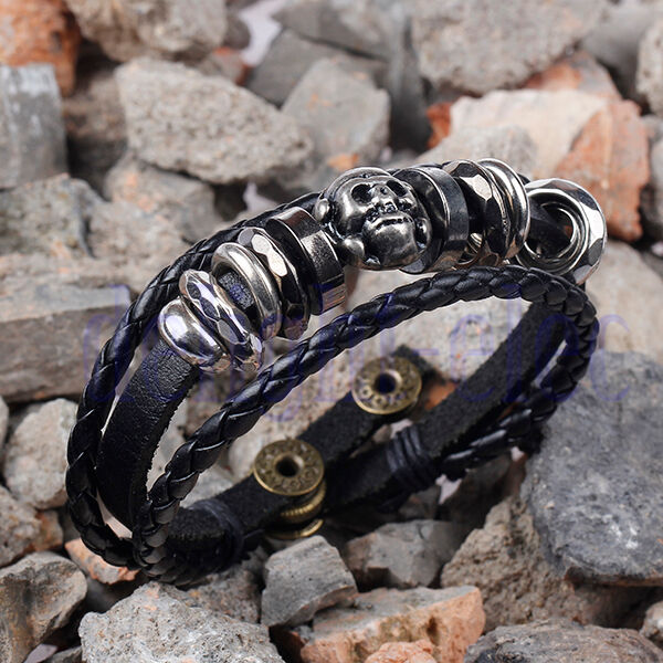 Cool Skull Metal Studded Men Hematite Bead Leather Bracelet Adjustable Bangle DG
