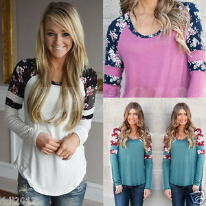 Fashion-Womens-Long-Sleeve-Shirt-Casual-Floral-Blouse-Loose-Cotton-Top-T-Shirt