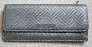 5cc36267291c NWT Michael Kors Money Pieces Flat Leather Wallet Metallic Silver ...