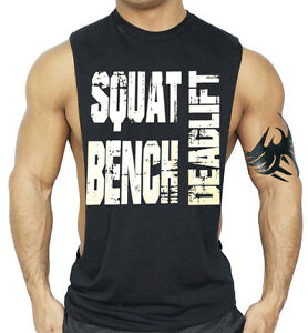 Men-039-s-Squat-Bench-Deadlift-Black-Workout-Vest-Tank-Top-Beast-Muscle-Gym-Tee
