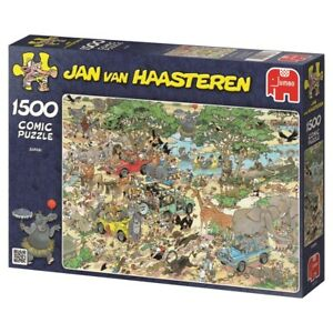 Jan-van-Haasteren-Puzzle-1500-Piece-Cartoon-Comic-Safari-w-Animals-Jigsaw-Jumbo