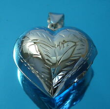 925 Sterling Silver Large Puffed Heart Locket Pendant Photo Picture Jewellery