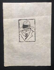 Rolf böhlig, Portrait uomo con cappello, taglio di legno