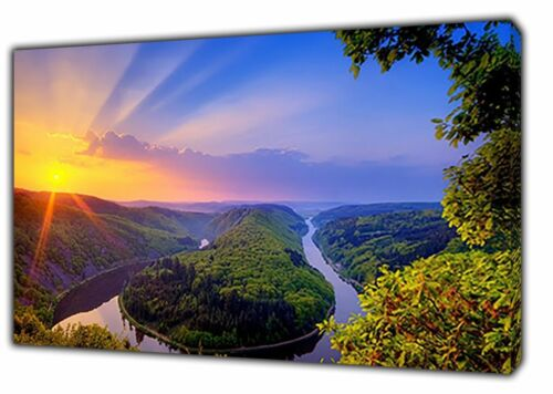 Beautiful Nature Sunrise Forest Picture Print On Wood Framed Canvas Wall Art